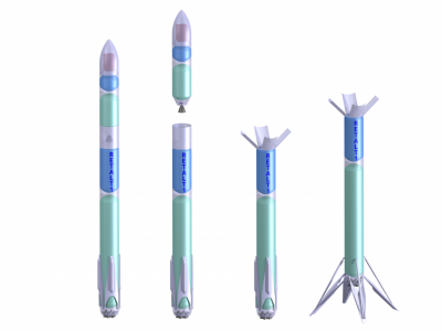 Conceptual sketch of the RETALT1 spacecraft. Configurations from left to right-launch, stage separation, first stage descent, first stage landing.